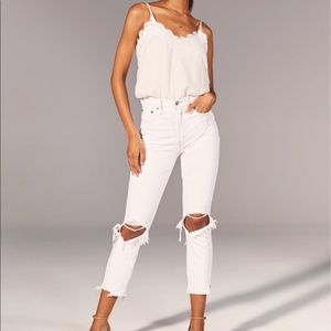 White high waisted distressed jeans